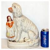 Large Antique Stafordshire Porcelain Dog With Girl