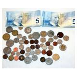 Lot of Foreign Coins w $10 Canadian Currency