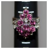 13K Gold Ring w Amethyst Gemstones Sz 8