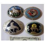 4 Western Handmade Belt Buckles Native Turquoise