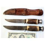 2 Nice Bone Handle Type Hunting Knives