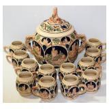 Germany Gerz Stein Punch Bowl w 12 Cups Beauty