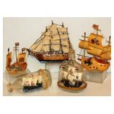 5 Wood Ship Models Decor - Holland Shoes, Bottles