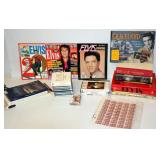 Elvis Presley Lot - Movies on VHS, Books, Stamps+