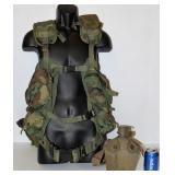 Vintage Army Military Vest w Canteen