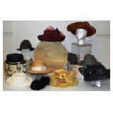 10 Vintage Women/Men Hats & Boxes