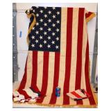 3 American Flags Large w Fringe on Sides