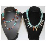 2 Chunky Necklaces w Shells & Stones Coral