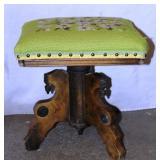 Antique Organ Stool Adjustable Square Seat Tonk