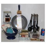 Lot of New Kitchen Items - Fry Pat, Enamelware +