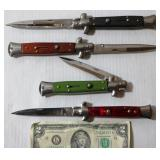4 Push Button Knives 440 Stainless Milano