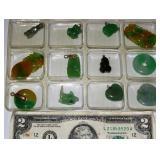 12 Jade Pendants - Frog, Fish, Heart, Circle Donut