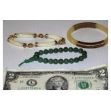 3 Nice Bracelets, One is Jade Beads