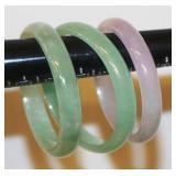 3 Jade Bangle Bracelets About Same Size