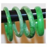 4 Jade Bangle Bracelets Different Sizes