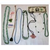 8 Necklaces w Precious Stones - Most Jade