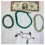 4 Jade Bracelets - Beaded, Charm Style
