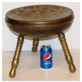 Vintage Turkish Brass Foot Stool w Engraving