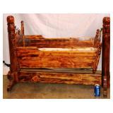 Vintage Custom Made Wood Baby Cradle Swinging