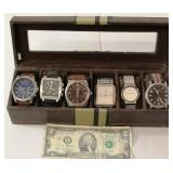6 Luxury Watches in Display - Heuer, Armani, Cole