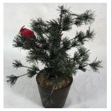 Faux Potted Pine Tree w/Cardinal
