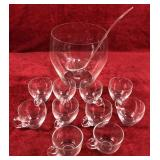 Glass Punch Bowl and Cups - Plastic Ladle
