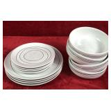 Set of Stoneware Plates and Bowls