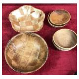 Lot of Bamboo and Wooden Bowls