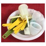 Lot of Plastic Scoops and Measuring Spoons