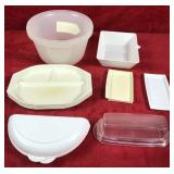 Lot of Plastic Containers-Butter Dishes-Plates