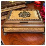CARVED MUSIC BOX PLAYS BLUE DANUBE