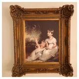 ORNATELY FRAMED PICTURE OF TWO CHILDREN