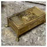 BRASS FOOTED BOX MADE IN ENGLAND