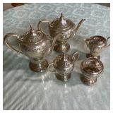 HAND CHASED STERLING SET  2151 GRAMS