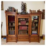 ANTIQUE SPOON CARVED TRIPLE BOOKCASE