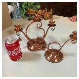 2 COPPER CADLE HOLDERS