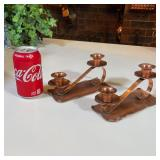 PAIR OF COPPER CANDLEHOLDERS