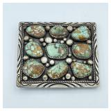 STERLING  TURQUOISE OLD PAWN BUCKLE SIGNED UNUZ