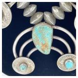 LARGE BARBER HALF DOLLAR & TURQUOISE NECKLACE