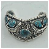 MARKED P STERLING TURQUOISE CUFF