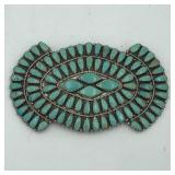 LARRY MOSES BEGAY STERLING & TURQUOISE BROOCH