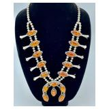 STERLING & AMBER SQUASH BLOSSOM NECKLACE