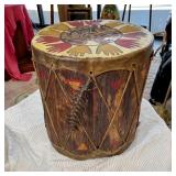 HAND PAINTED NATIVE AMERICAN DECORATED DRUM