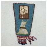 """NATIVE AMERICAN BEADED LEATHER w/ PICTURE 9"""""""