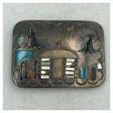 BENNY BOTD? STERLING SILVER STONE INLAY BUCKLE