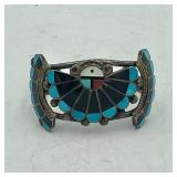 STERLING SILVER TURQUOISE INLAY CUFF
