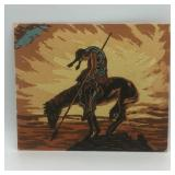 """END OF TRAIL SAND PAINTING 12""""x10"""""""