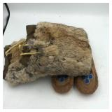 NATIVE AMERICAN FUR AND BEAD BOOTS