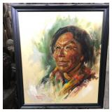"""NATIVE AMERICAN PAINTING BY ERNESTO EBEOA 23""""x27"""""""
