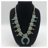 """STERLING SILVER TURQUOISE SQUASH BLOSSOM 24"""""""